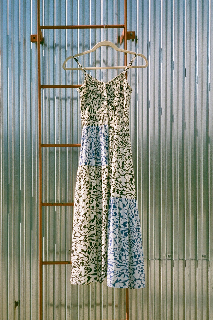 Wray NYC Smocked Dress in Graphic/Blue Animal at STATURE | staturenyc.com