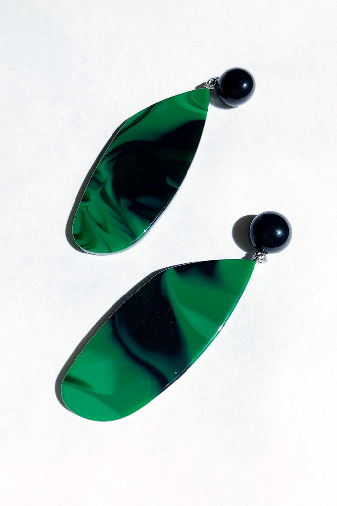Splitleap Earrings - Black-Malachite