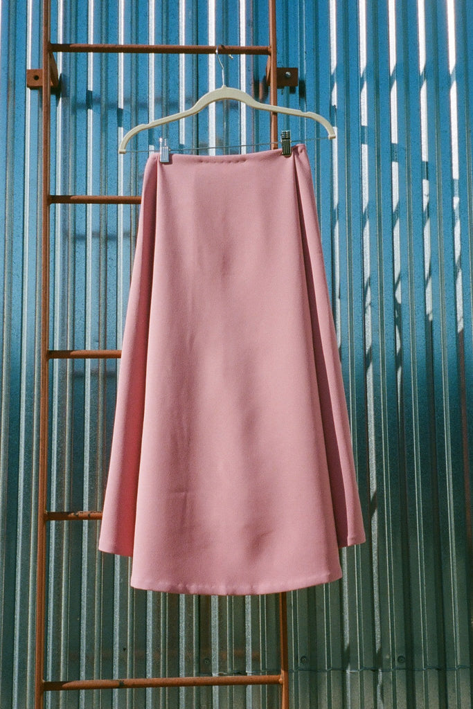 Kaarem Stream Deep Pleated Midi Skirt - Sunset Pink - Exclusively at STATURE | staturenyc.com
