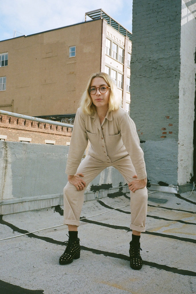Molly Bernard in Ilana Kohn Petite Tia Long-Sleeved Coverall Jumpsuit in Toast exclusively at STATURE NYC | staturenyc.com