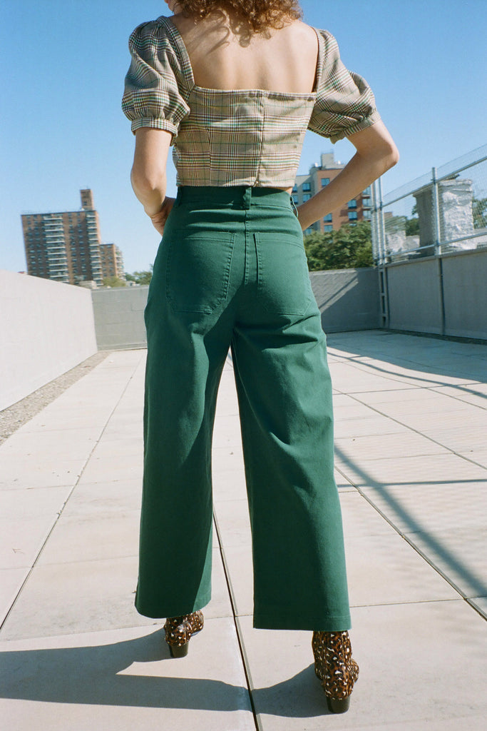 Loup Toni Petite Exclusive Wide Leg Jeans in Green at STATURE | staturenyc.com