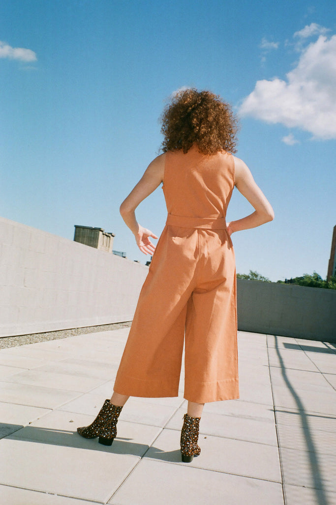 Wray NYC Willa Jumpsuit in Clay (Petite Exclusive) at STATURE | staturenyc.com