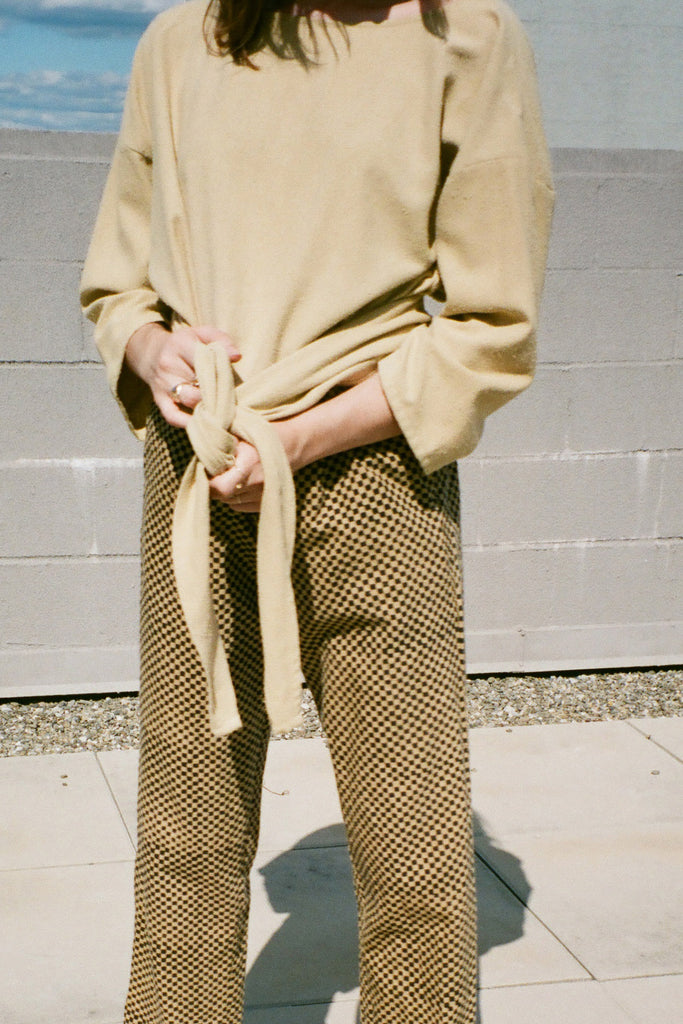Miranda Bennett Everyday Wrap Top in Palomino Silk Noil (Petite Exclusive) at STATURE NYC | staturenyc.com