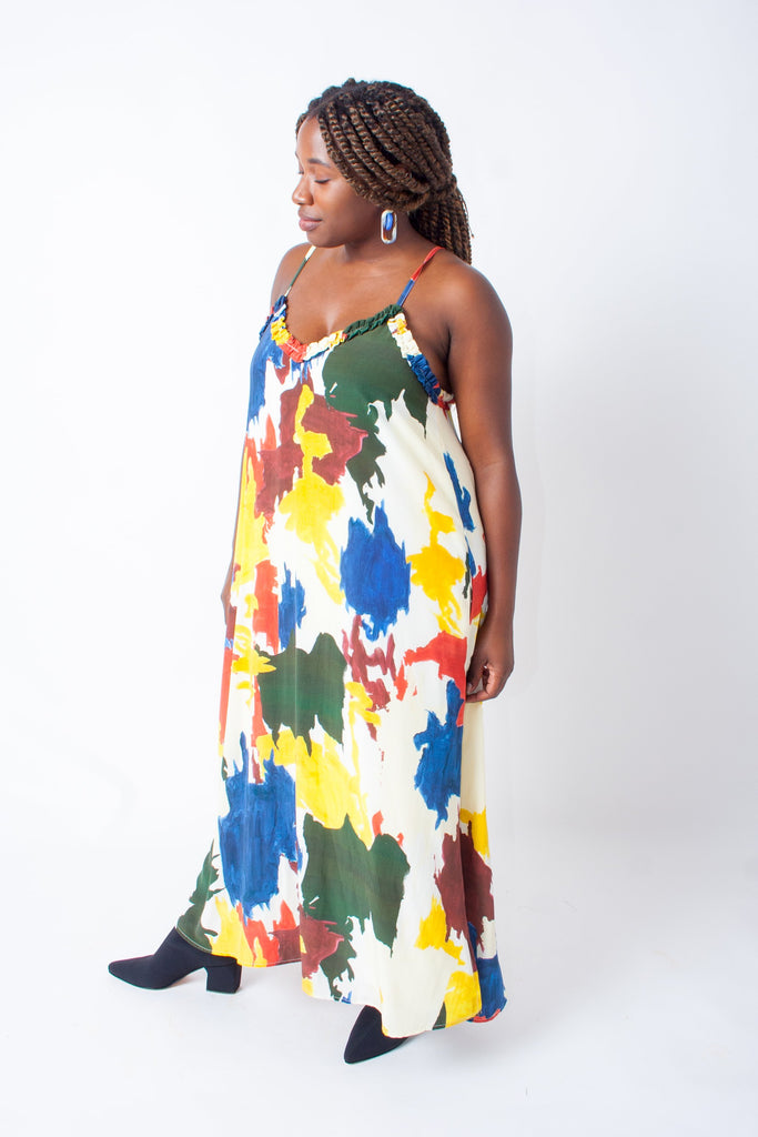 Wray Slip Dress - Expressionist Print