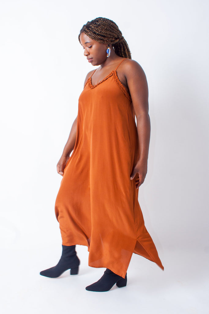 Wray Slip Dress - Cognac
