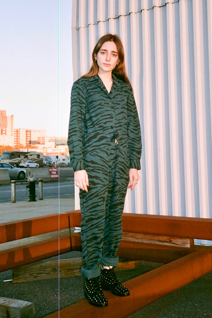 Jo Rosenthal in Rachel Antonoff - Ziggy Jumpsuit - Emerald Green Zebra print at STATURE | staturenyc.com