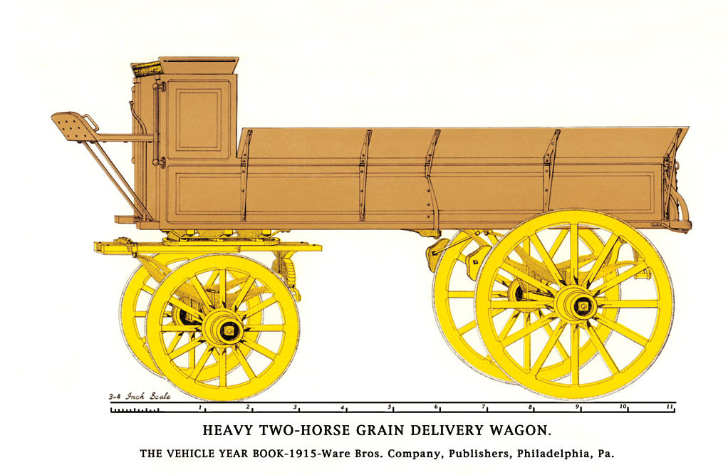 HEARY TWO-HORSE GRAIN DELIVERY WAGON