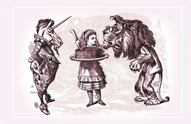 THROUGH THE LOOKING GLASS: ALICE, LION, UNICORN AND CAKE
