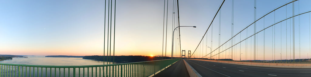 TACOMA NARROWS BRIDGE SUNSET