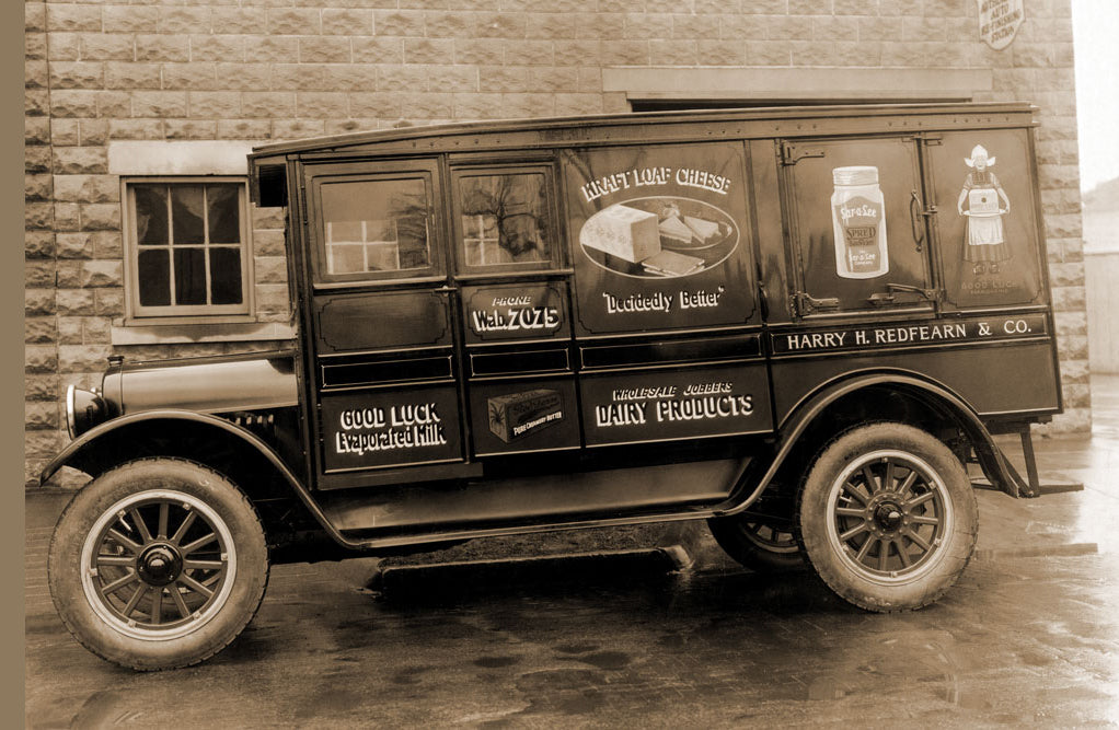 HARRY H. REDFEARN AND CO. DELIVERY TRUCK - GOOD LUCK EVAPORATED MILK AND CHEESE