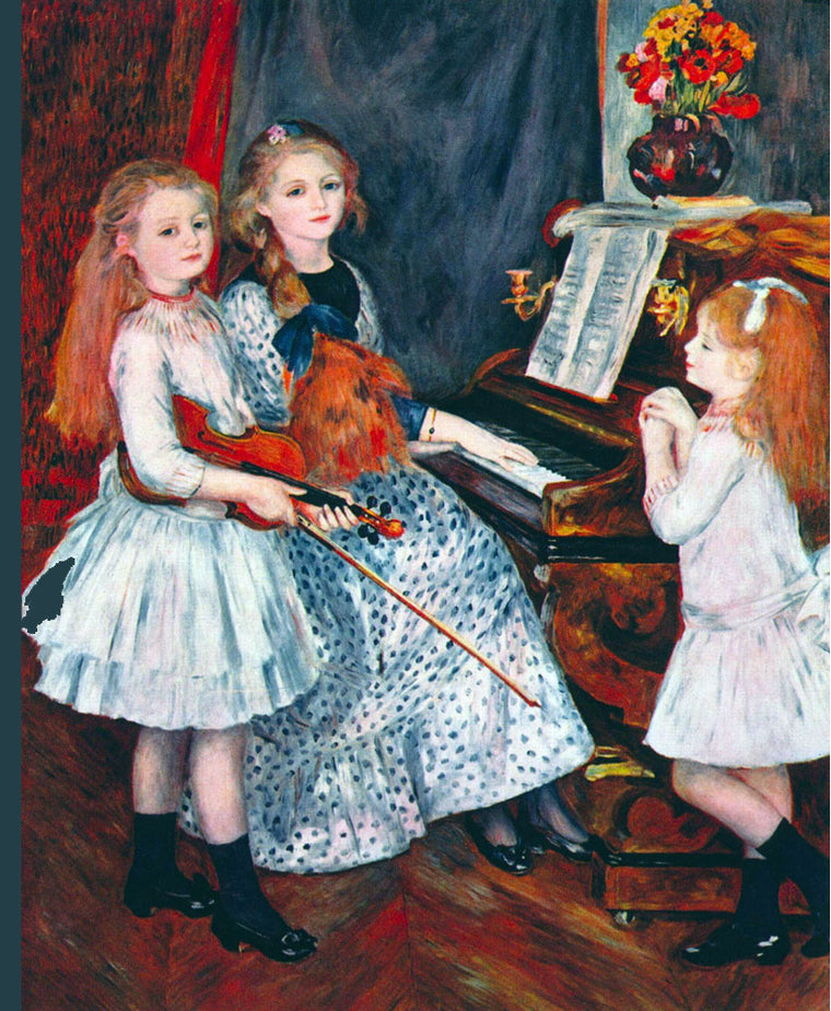 PORTRAIT OF THE DAUGHTERS OF CATULLE MENDES AT THE PIANO