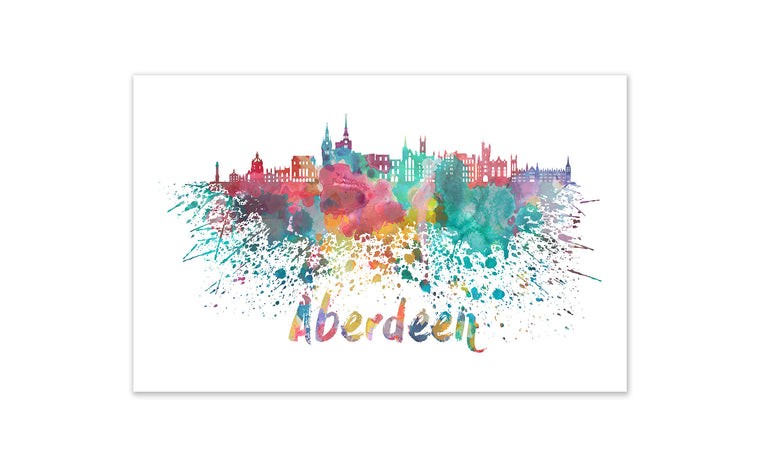 World Watercolor Skyline - Aberdeen
