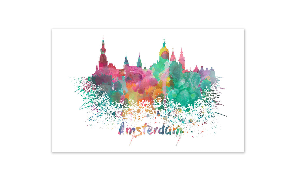 World Watercolor Skyline - Amsterdam