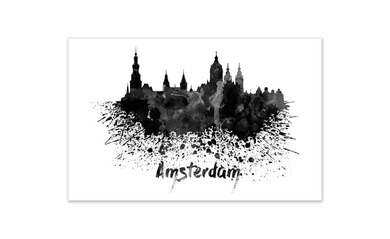 Black and White World Splatter Skyline Amsterdam