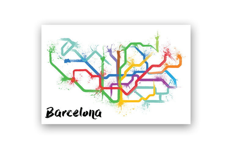 World Splatter Railroad Map Barcelona