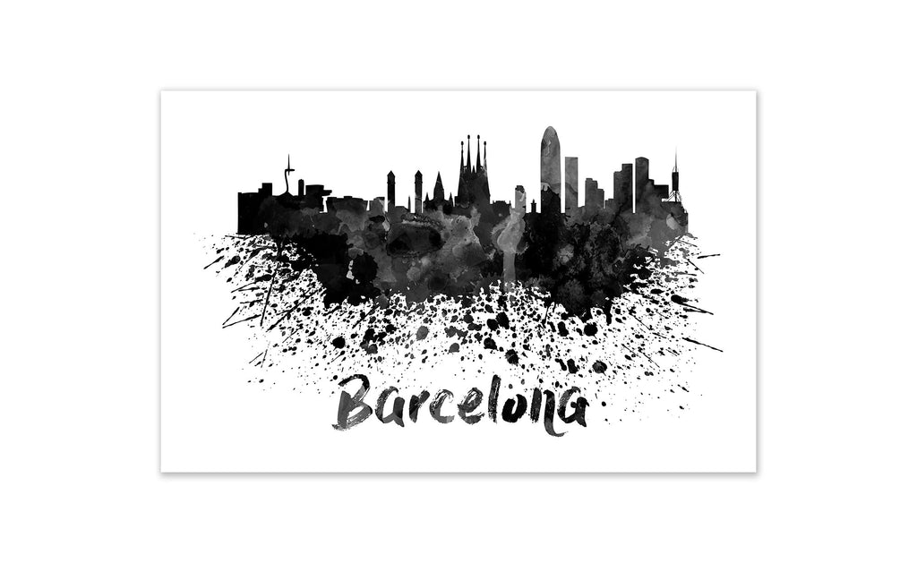 Black and White World Splatter Skyline Barcelona