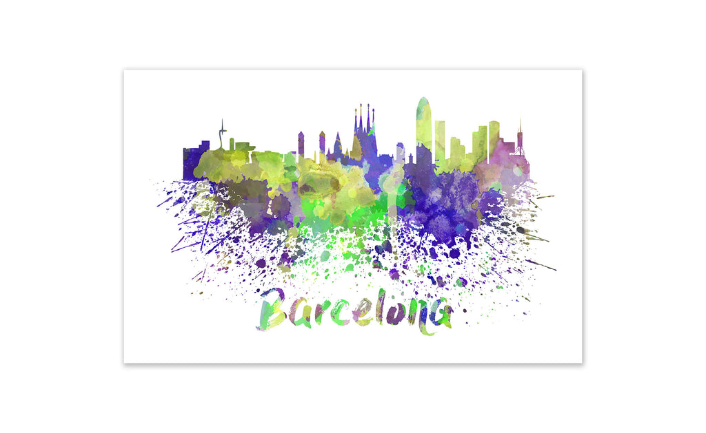 World Watercolor Skyline - Barcelona