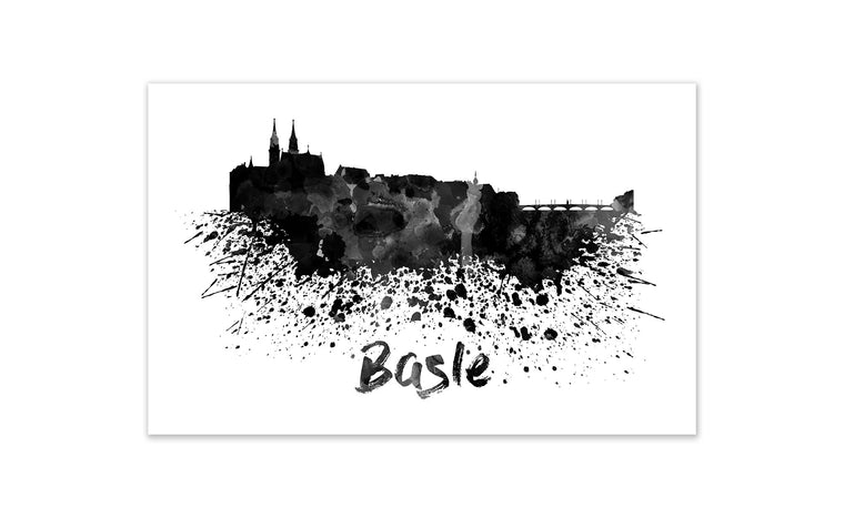 Black and White World Splatter Skyline Basle