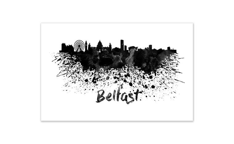 Black and White World Splatter Skyline Belfast
