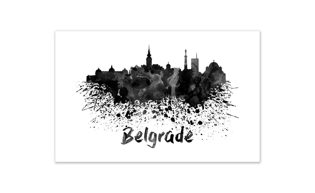 Black and White World Splatter Skyline Belgrade