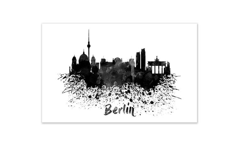 Black and White World Splatter Skyline Berlin