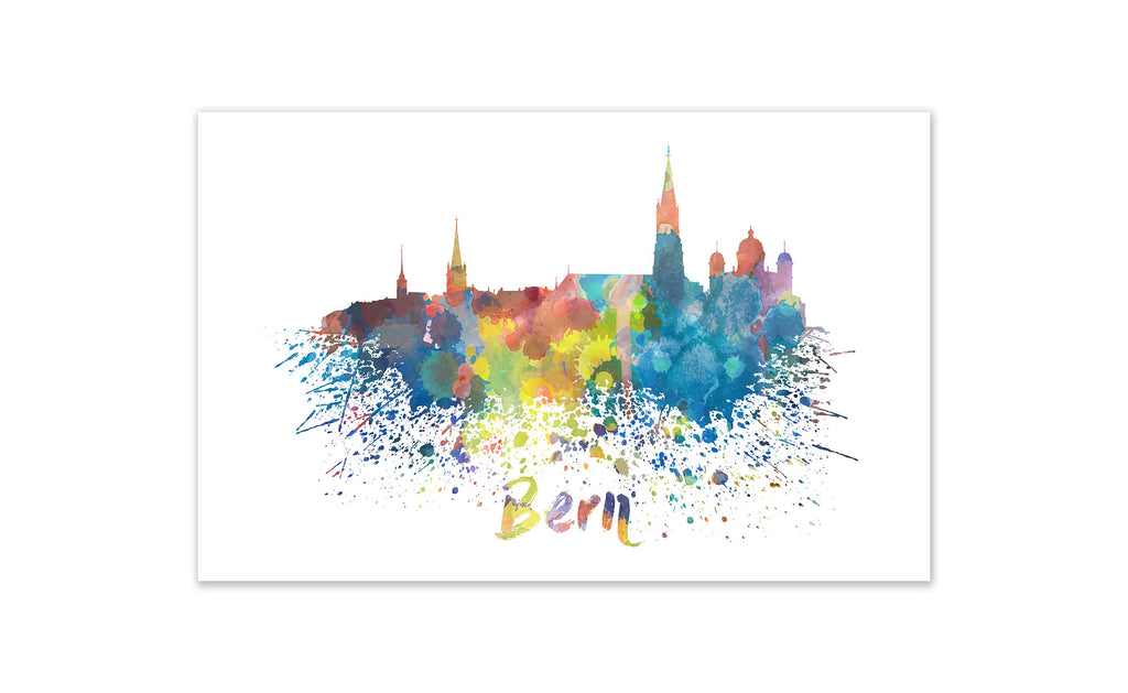 World Watercolor Skyline - Bern