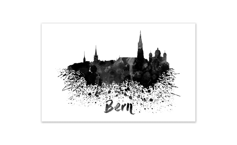 Black and White World Splatter Skyline Bern
