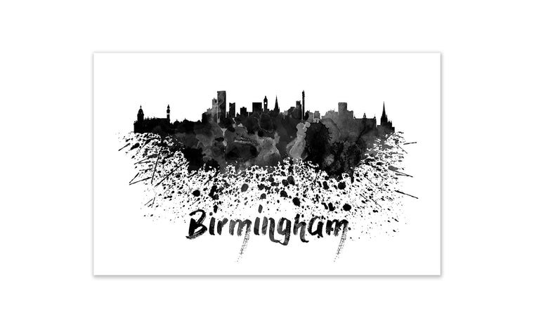 Black and White World Splatter Skyline Birmingham