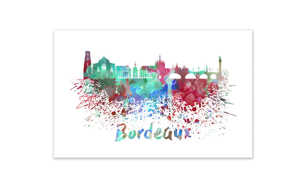 World Watercolor Skyline - Bordeaux