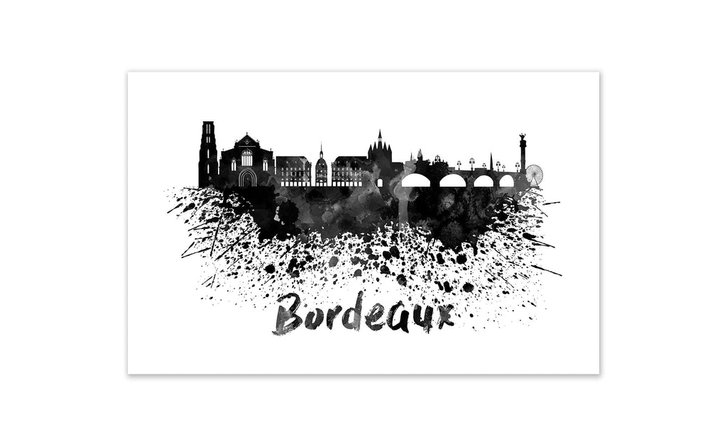 Black and White World Splatter Skyline Bordeaux