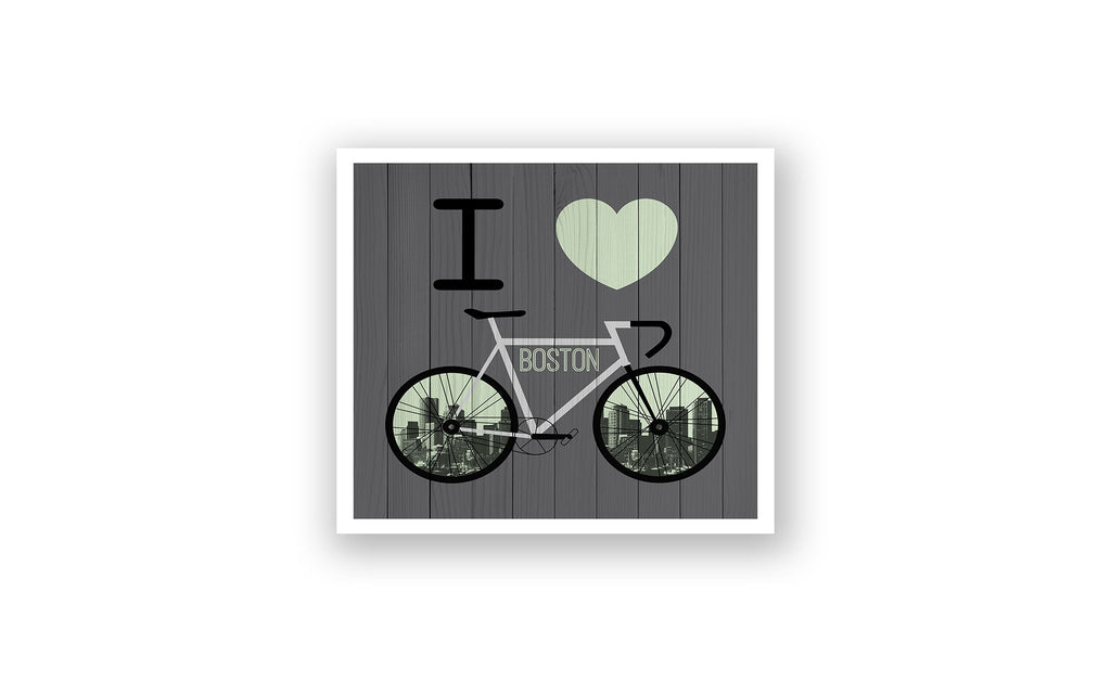 Boston City Skyline Bicycle At