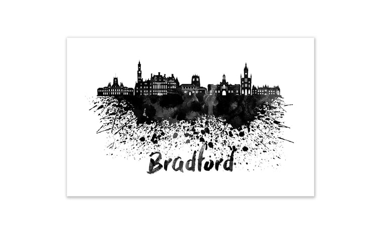 Black and White World Splatter Skyline Bradford