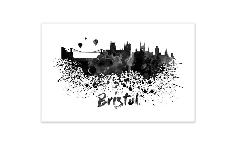 Black and White World Splatter Skyline Bristol