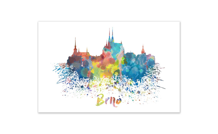 World Watercolor Skyline - Brno