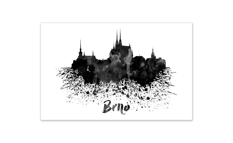 Black and White World Splatter Skyline Brno