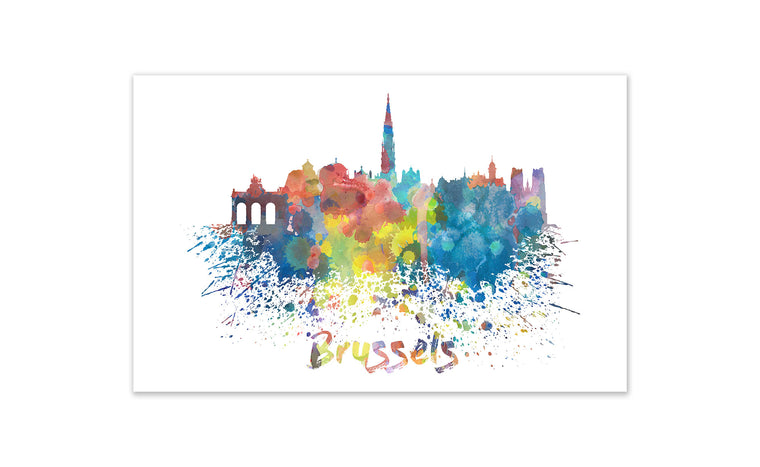 World Watercolor Skyline - Brussels