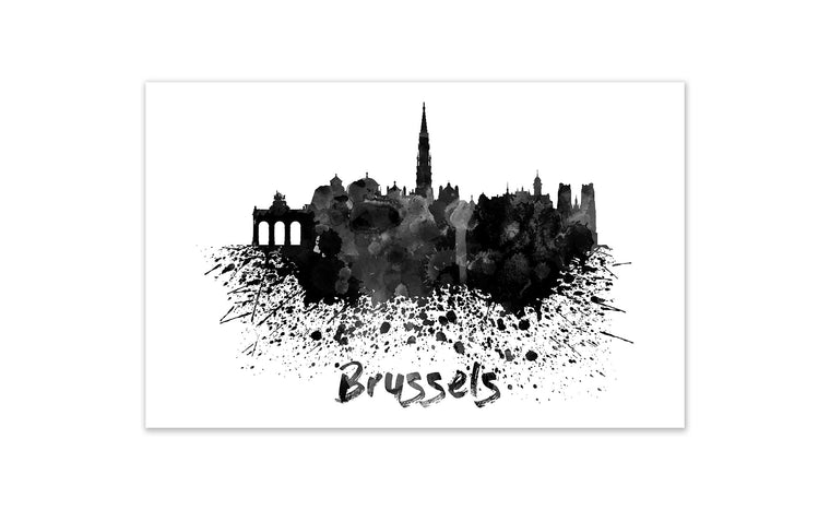 Black and White World Splatter Skyline Brussels