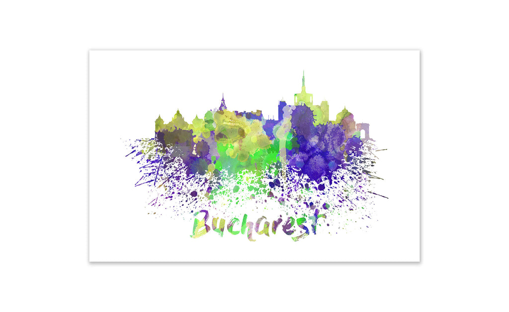 World Watercolor Skyline - Bucharest