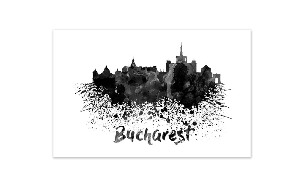 Black and White World Splatter Skyline Bucharest