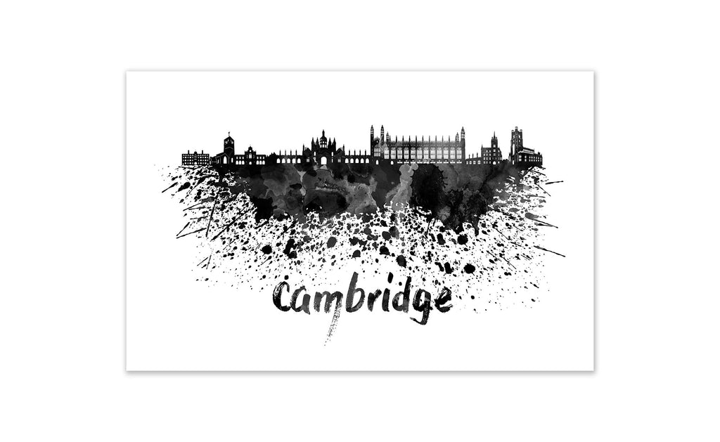 Black and White World Splatter Skyline Cambridge
