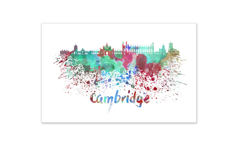 World Watercolor Skyline - Cambridge