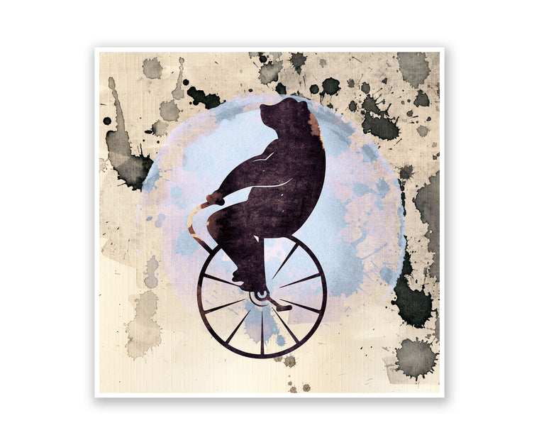 Circus Bear Watercolor Silhouette