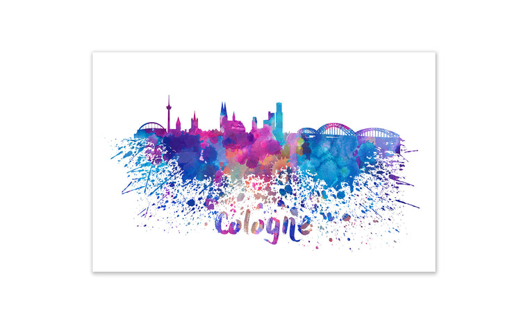 World Watercolor Skyline - Cologne