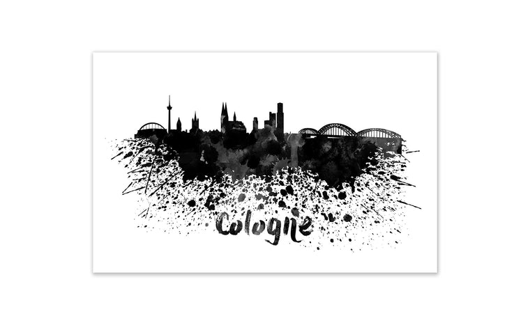 Black and White World Splatter Skyline Cologne