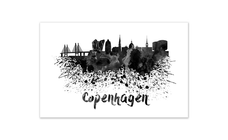 Black and White World Splatter Skyline Copenhagen