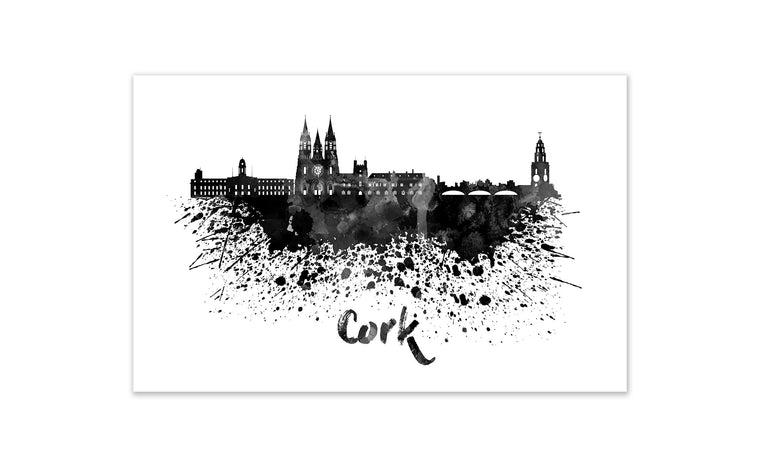 Black and White World Splatter Skyline Cork