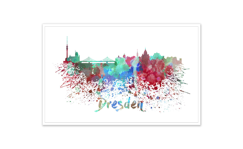World Watercolor Skyline - Dresden