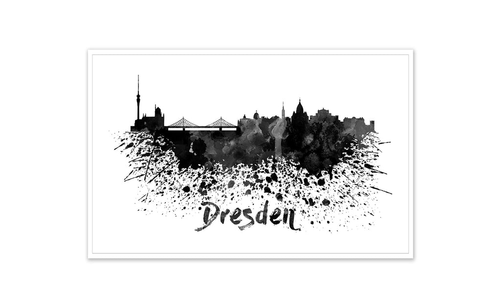 Black and White World Splatter Skyline Dresden