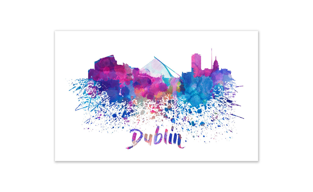 World Watercolor Skyline - Dublin