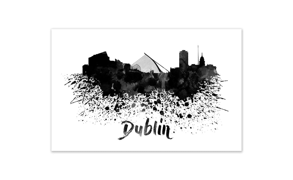 Black and White World Splatter Skyline Dublin